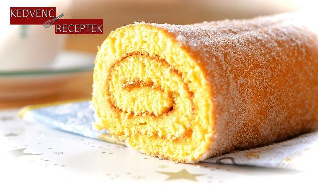 Lekváros piskótatekercs édes sütemény recept