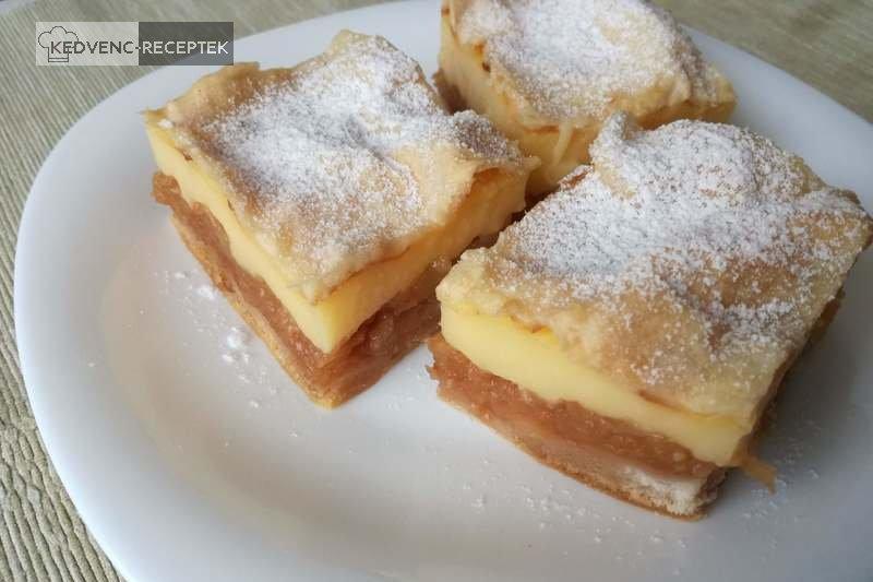 Mennyei almás-pudingos süti leveles tésztában