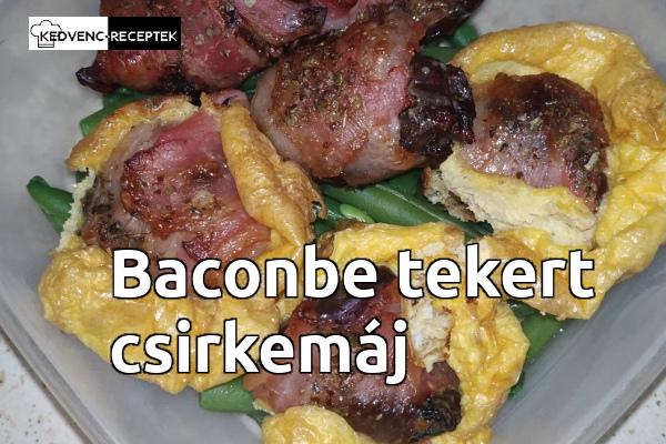 Baconbe tekert csirkemáj tálalva